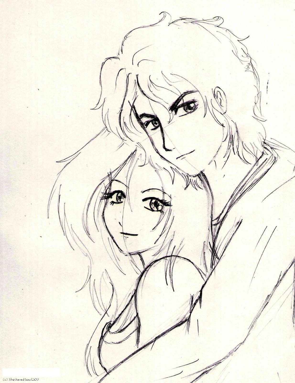 1234x1600 Cute Couple Doll Sketch Hd