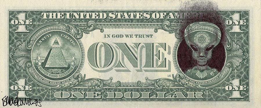 900x374 Dollar Bill Alien Drawing By Ismael Cavazos