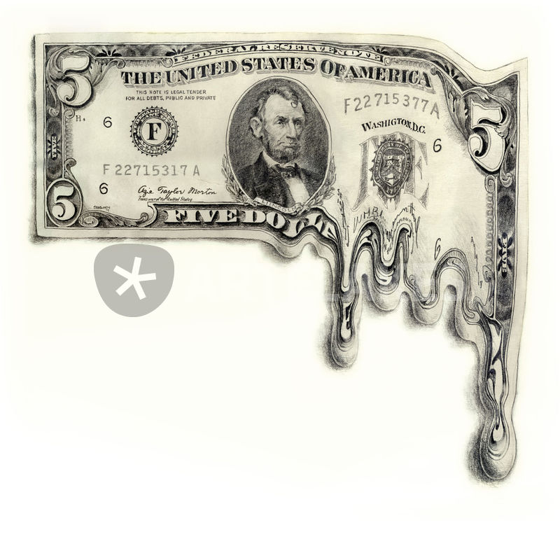 800x800 Melting 5 Dollar Bill Drawing Art Prints And Posters By Paul