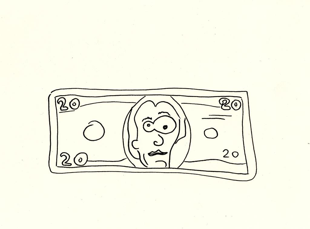 1024x758 20 Dollar Bill, Ink Drawing America's Favorite Bill