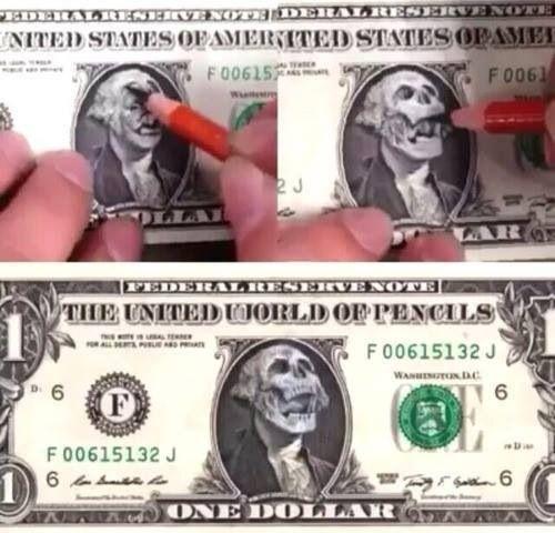 500x480 Badass Dollar Bill Drawing An Artistic Flare Skull