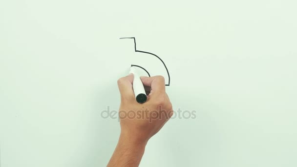 608x342 Drawing A Dollar Sign With Down Arrow. Black Marker On Whiteboard