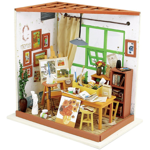 640x640 Doll House Miniature Diy Dollhouse With Furnitures Wooden House