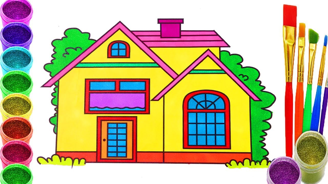 1280x720 How To Draw Dollhouse Coloring Pages Drawing For Children