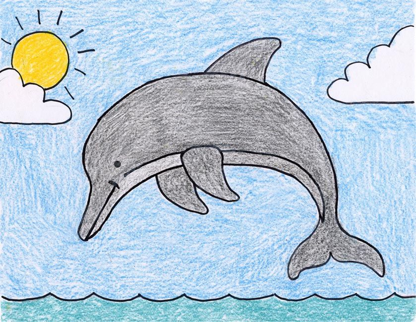 It's just an image of Current Dolphin Easy Drawing
