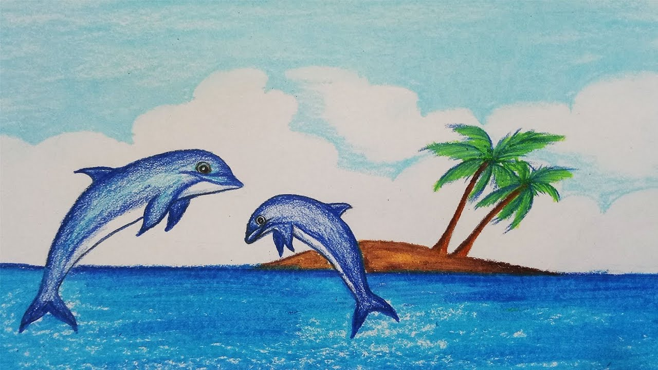 1280x720 How To Draw Scenery Of Dolphin.step By Step(Easy Draw)