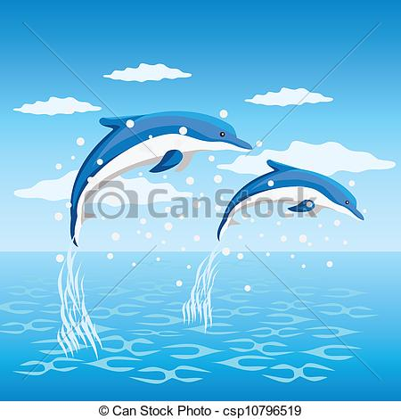 450x470 Dolphins. Two Dolphins Jumping From The Sea. Vector Clip Art
