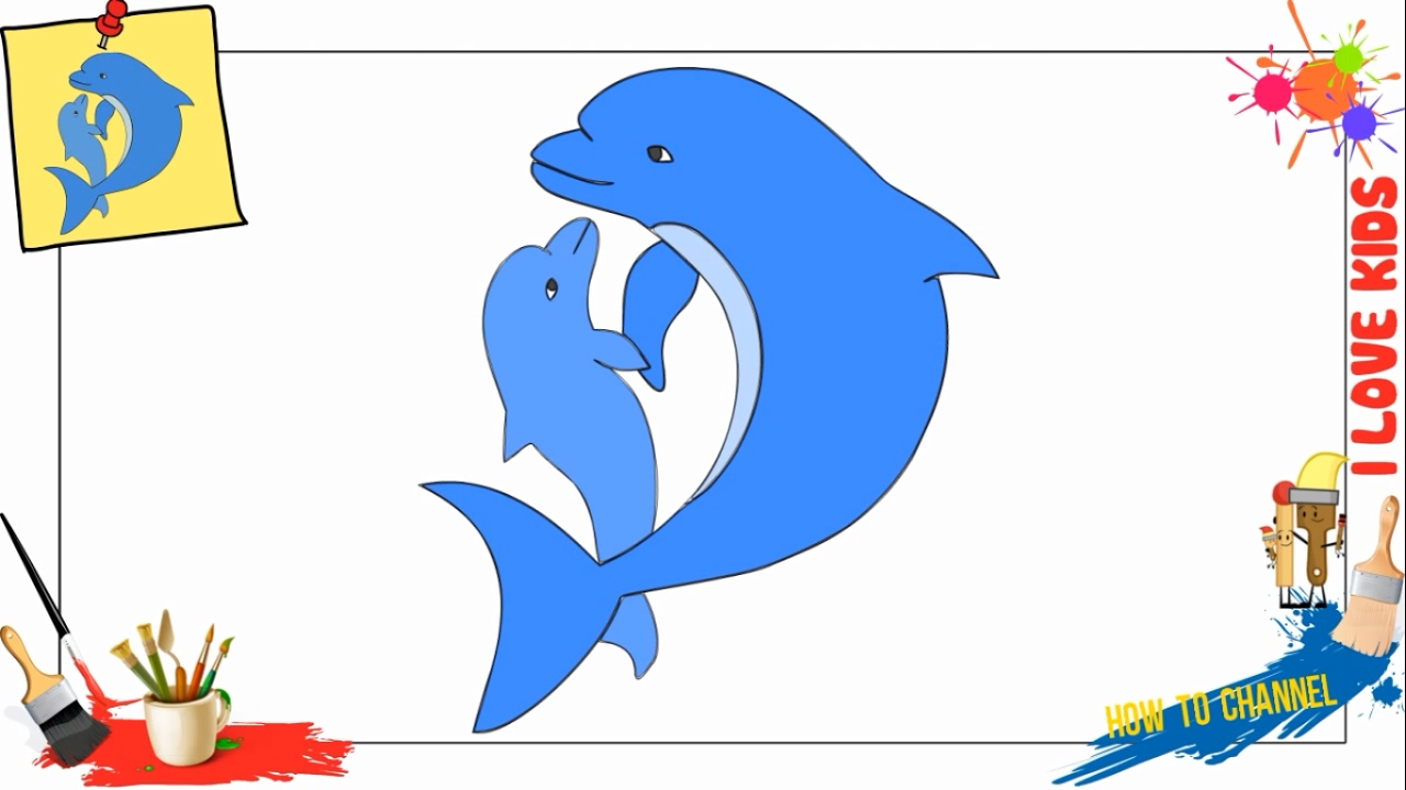 1280x720 How To Draw Dolphin 2 Easy Amp Slowly Step By Step For Kids