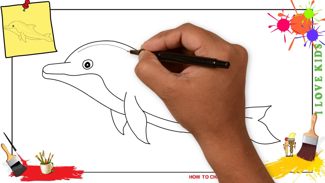 1280x720 How To Draw A Dolphin 2 Simple, Easy Amp Slowly Step By Step