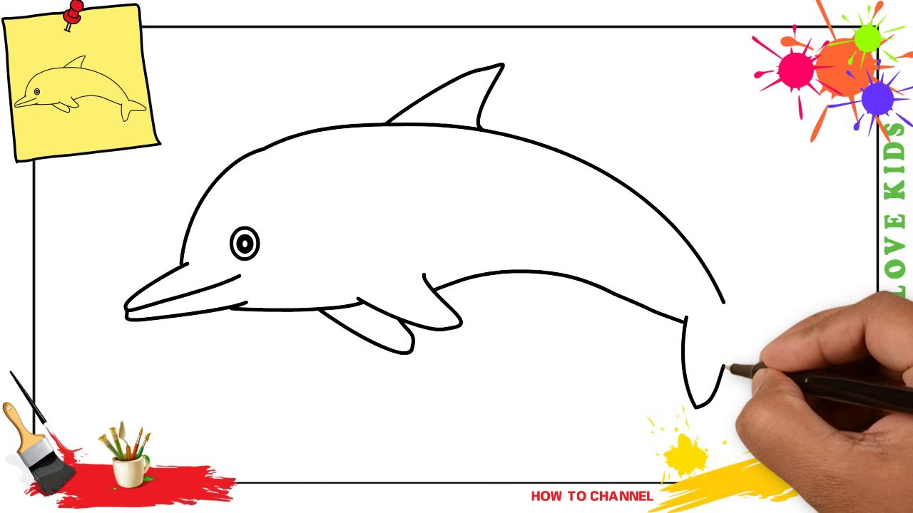 1280x720 How To Draw A Dolphin 3 Easy Amp Slowly Step By Step For Kids
