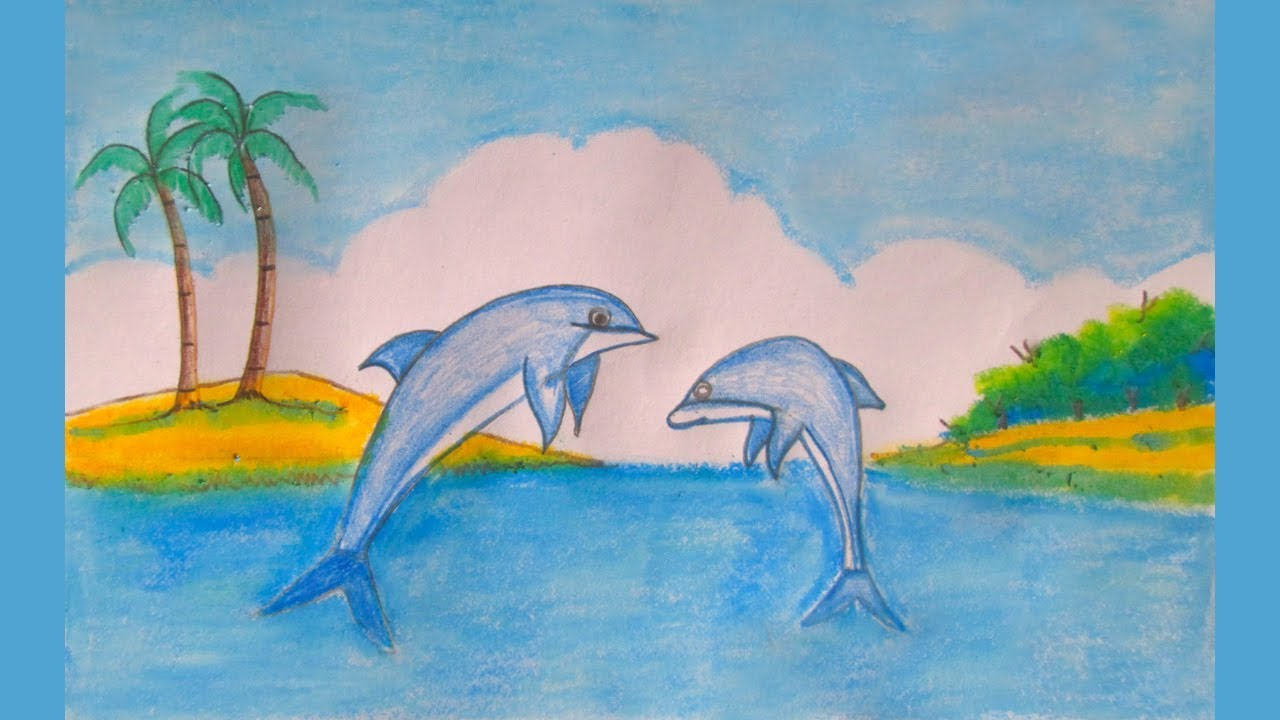 1280x720 How To Draw Scenery Of Dolphin Step By Step Simple Draw