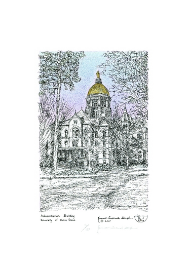 375x525 University Of Notre Dame Golden Dome A Pen And Ink Drawing By