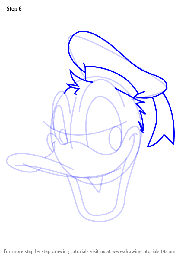 600x846 Step By Step How To Draw Donald Duck Face From Mickey Mouse