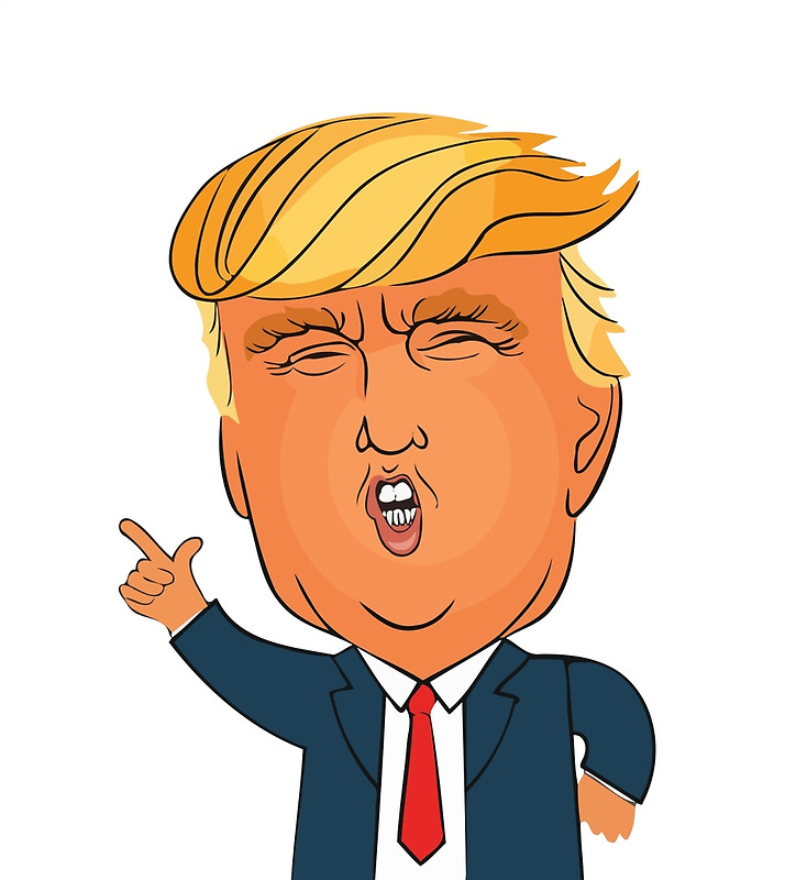 734x800 Donald Trump Cartoon Toon Drawing Funny Crazy Election