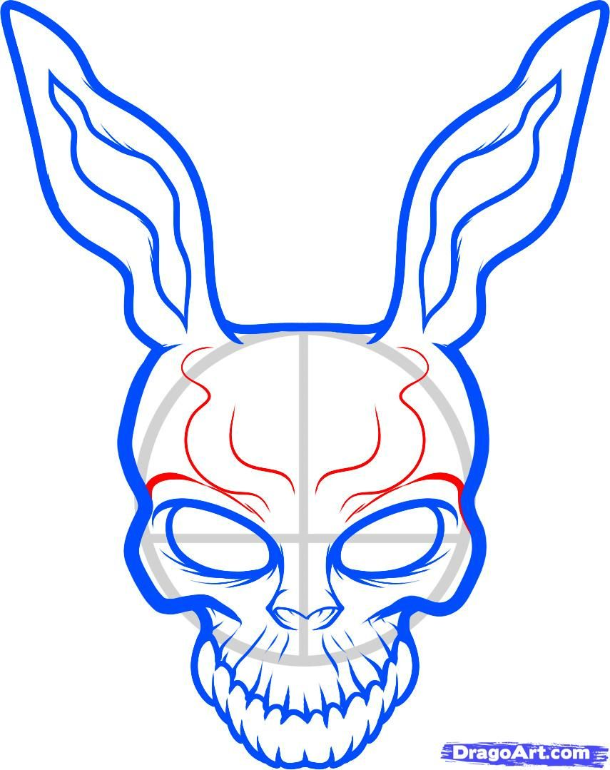 855x1079 How To Draw Frank The Rabbit, Donnie Darko Step 6 Poster