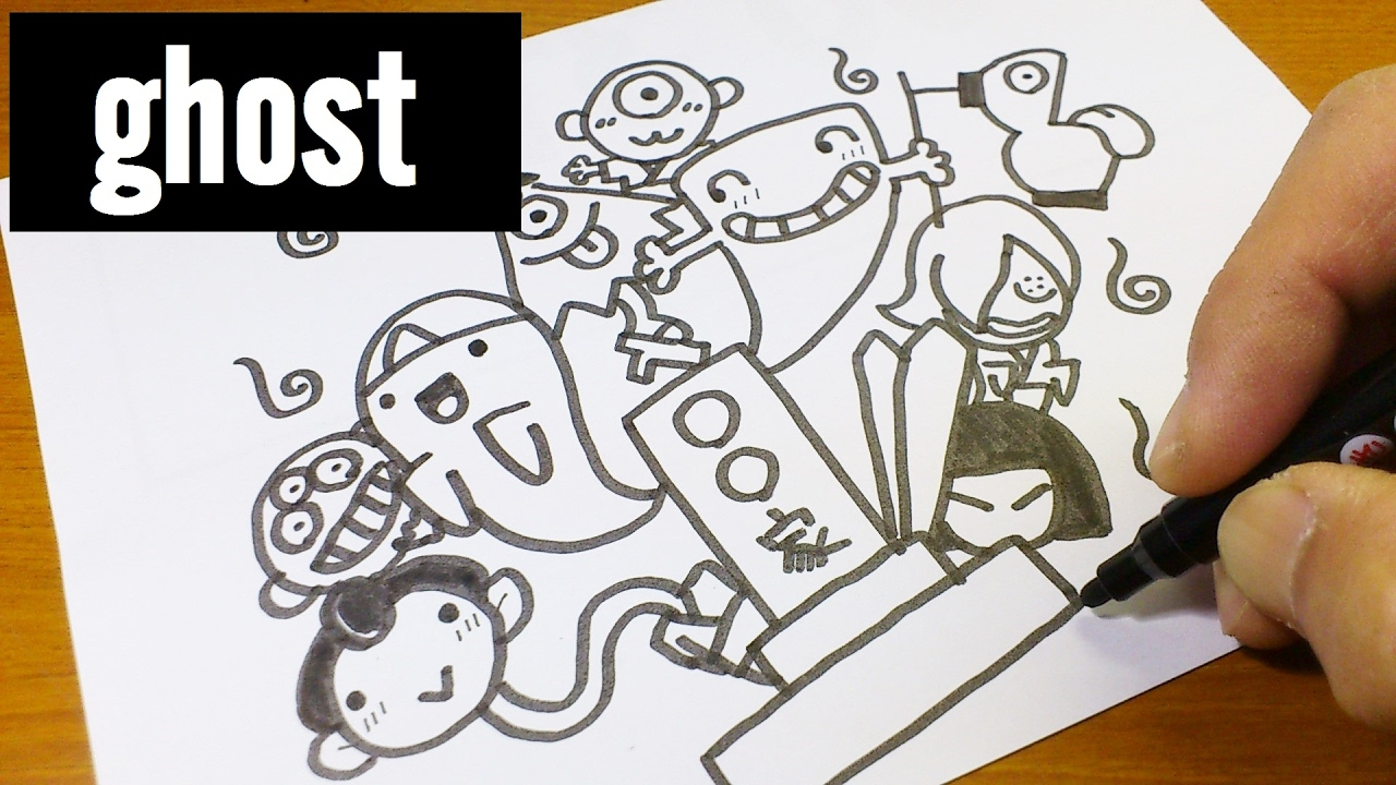 1280x720 How To Draw Cute Japanese Ghost Doodle For Kids ! Kawaii Amp Easy