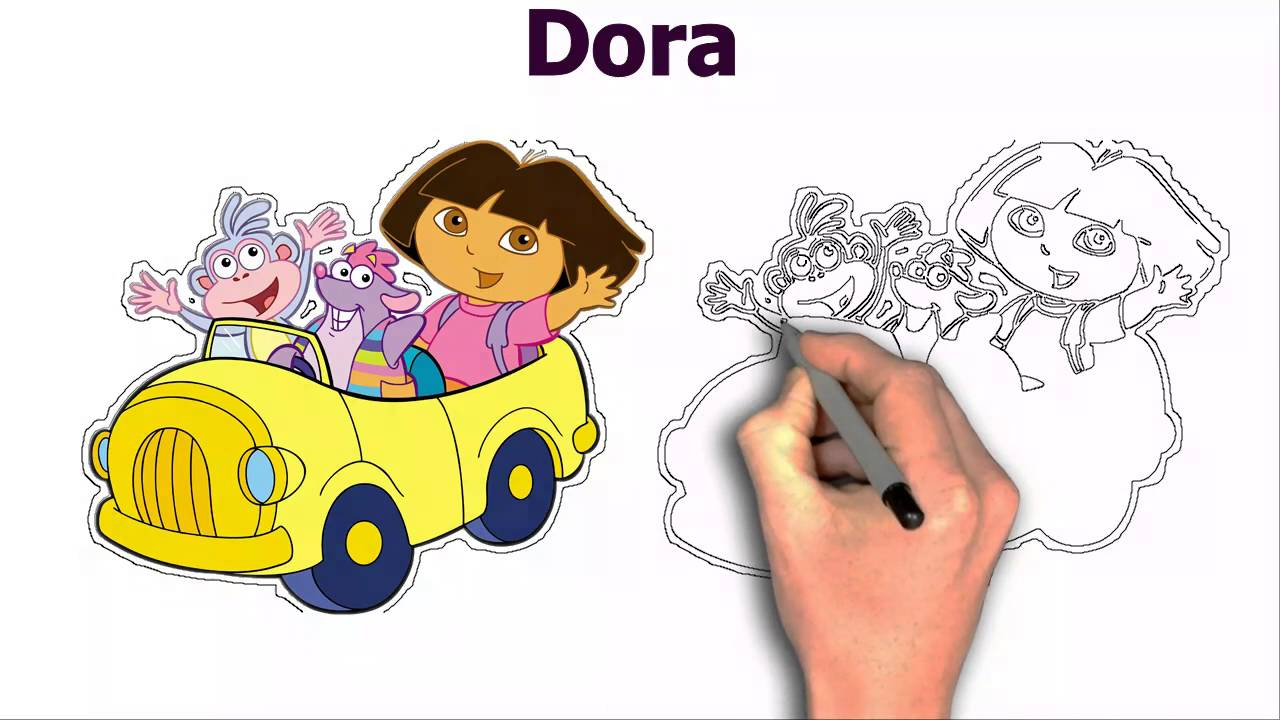 1280x720 Dora With Friends And Car Cartoon Drawing