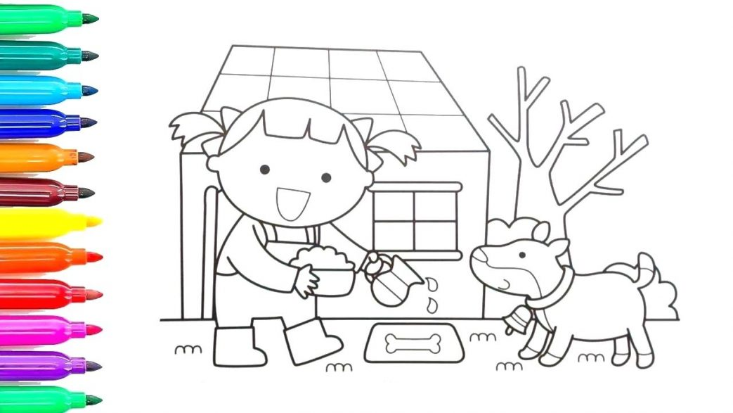 1043x587 Coloring Pages Thanksgiving Dinner Kids For Printable Dora
