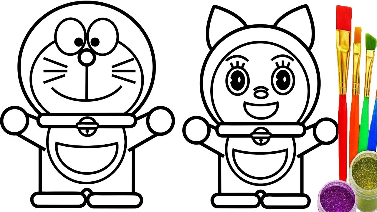Doraemon and Dorami Coloring Pages for Kids Learn Drawing for