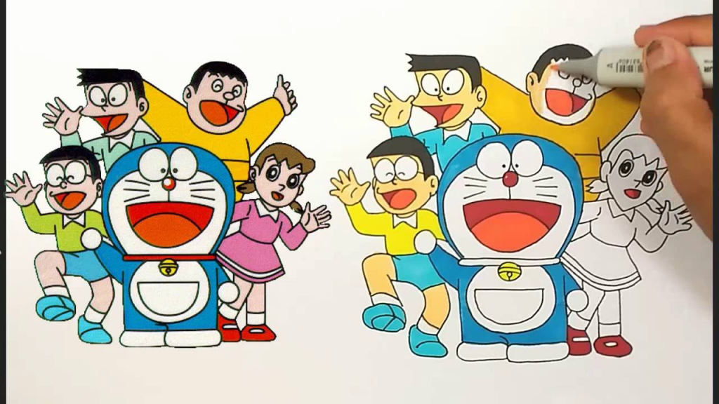 1024x576 To Draw Gian From Doraemon (Doraemon) Step By Step Drawing