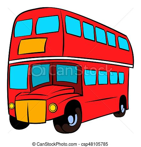 450x470 London Double Decker Red Bus Icon Cartoon. London Double Stock