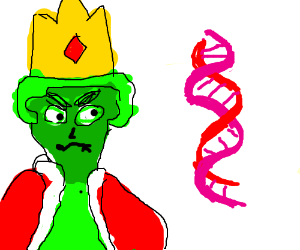 300x250 A Green King Angry Over A Double Helix (Drawing By Singetex)
