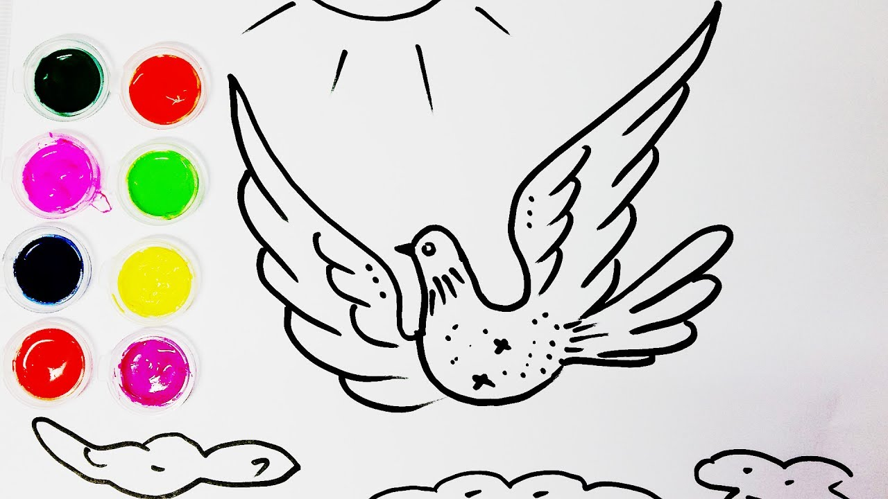 1280x720 Drawing For Kids How To Draw Dove Coloring Pages For Kids