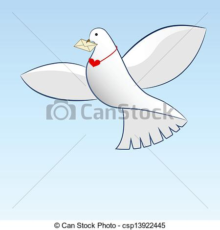 450x470 Drawing Of Dove Carrying Love Message. Eps Vector