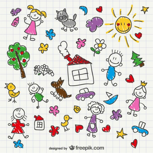 626x626 Hand Drawing Children Style Vector Free Download