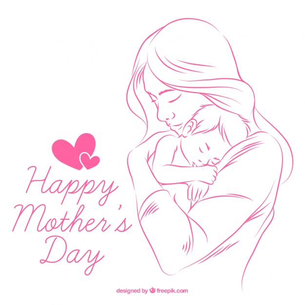 626x626 Background Of Hand Drawn Mother With Baby Vector Free Download