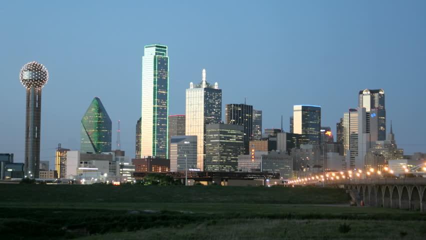 852x480 City Lights Illuminate The Dallas Skyline At Night. Stock Footage