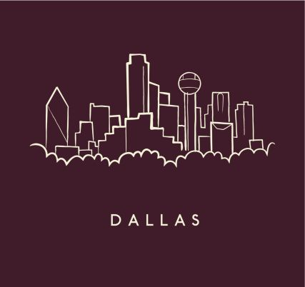 427x402 Hand Drawn Sketch Of The Dallas Skyline On Burgundy Background