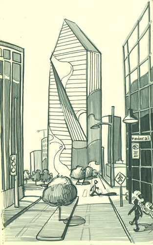 313x500 Downtown Dallas A Quick Sketch While Waiting For The Dart