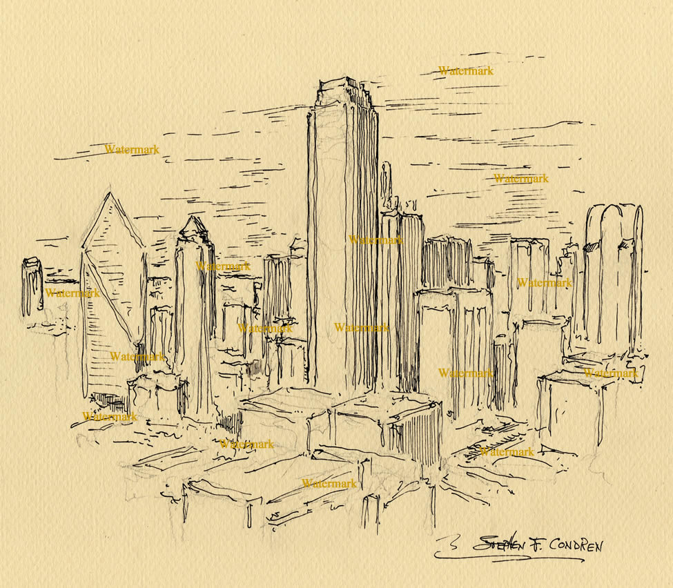 975x852 Skyline Pen Amp Ink Drawing Of Downtown Skyscrapers.