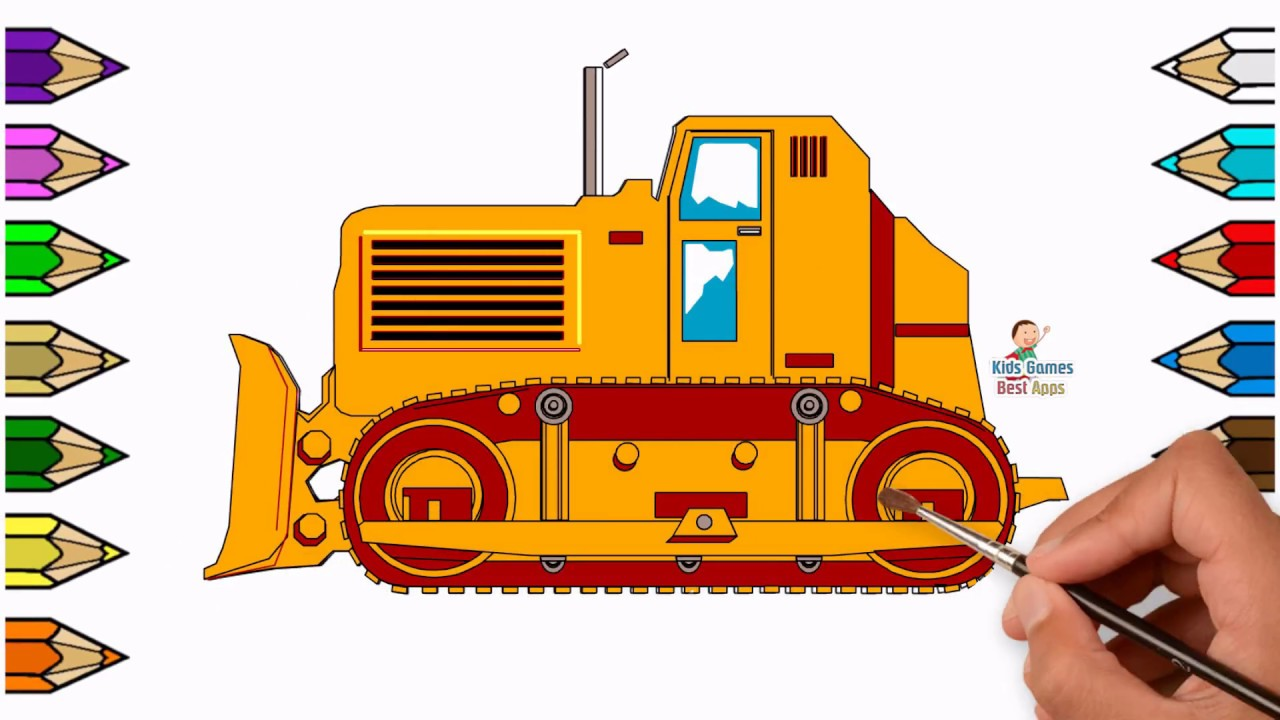 1280x720 Drawing Amp Coloring Dozer For Kids