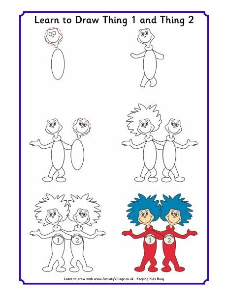 459x601 Learn To Draw Dr. Seuss Characters Thing 1 And Thing 2. Check