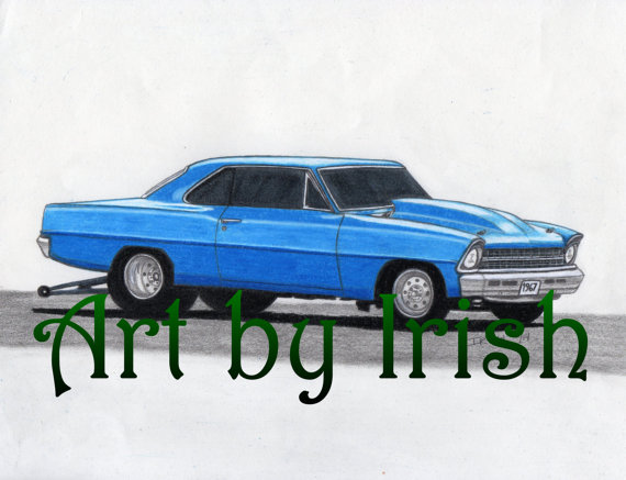 570x437 1967 Chevy Nova Original Drawing 8 12x11 Muscle Car By Artbyirish