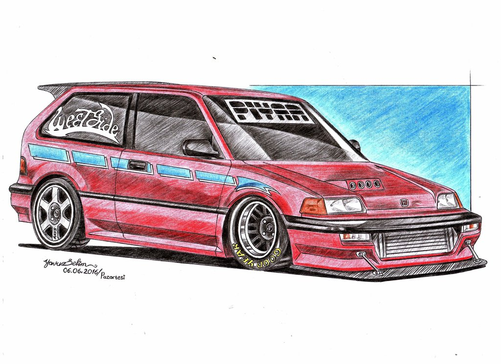1024x745 1991 Honda Civic Drag Version Modified Drawing. By Yavuzselim07