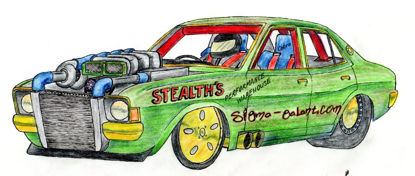 1599x680 Drag Race Car Drawing