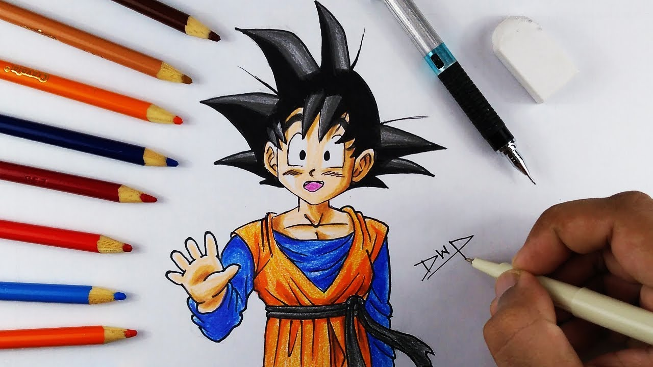 1280x720 How To Draw GOTEN From DRAGON BALL Z DBZ Character Drawing