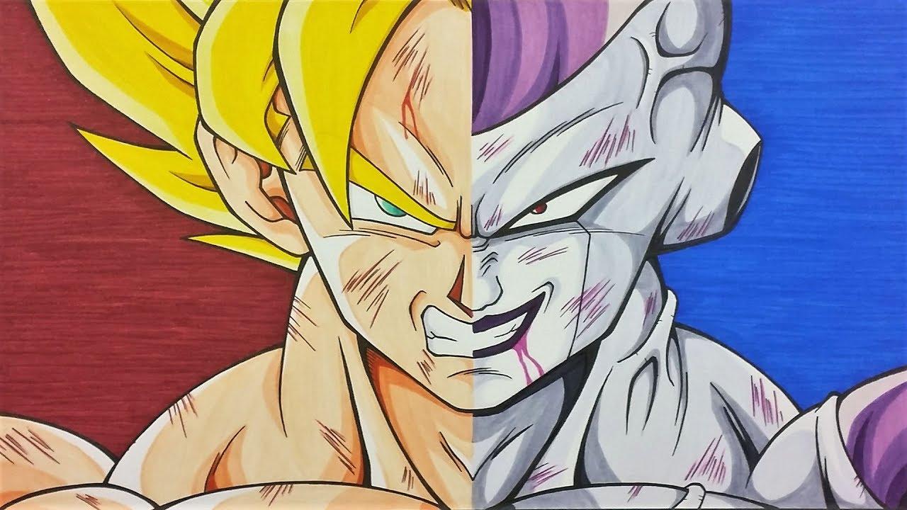 1280x720 Drawing Goku Ssj Vs Frieza Full Power Dragonball Z Tolgart