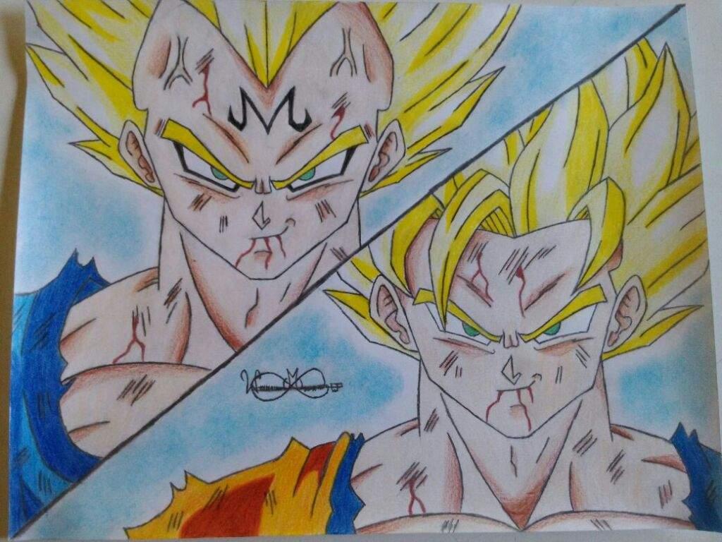 1024x768 Drawing Goku Vs Majin Vegeta DragonBallZ Amino