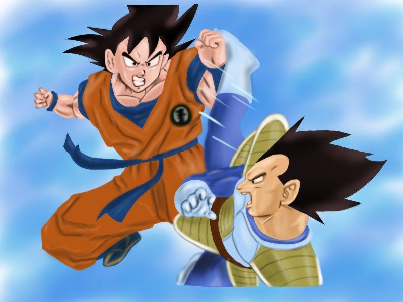 800x600 Learn How To Draw Goku Vs Vegeta (Dragon Ball Z) Step By Step