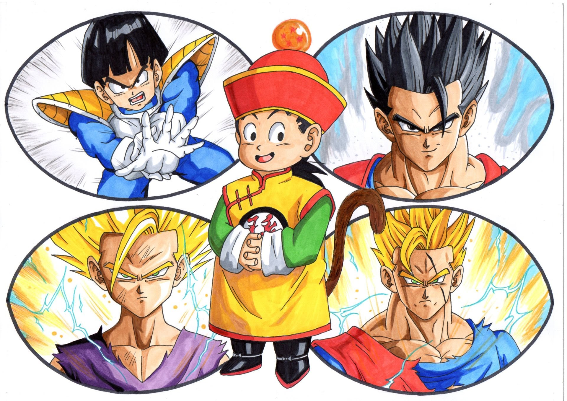 1920x1358 Drawing The Evolution Of Gohan From Dragon Ball Z