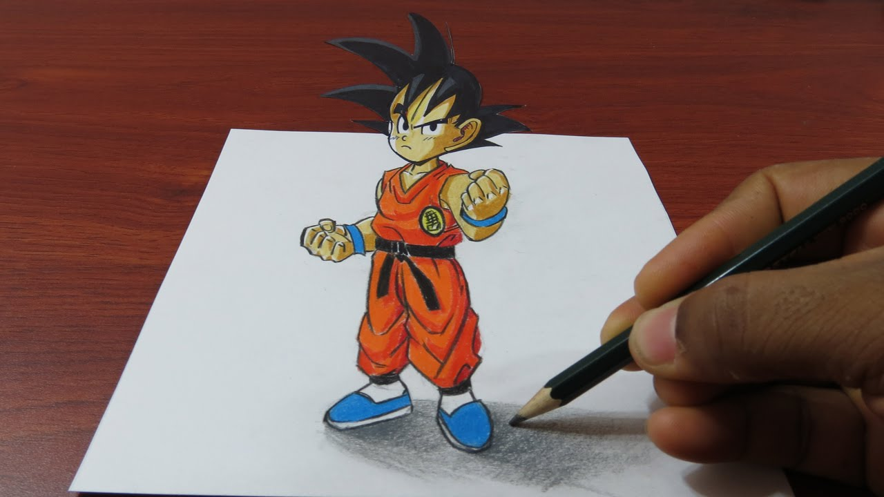 1280x720 How To Draw 3d Goku Easy