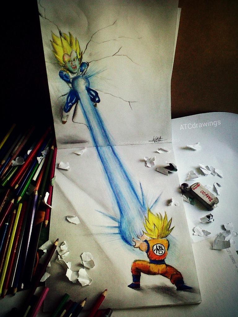 768x1024 Dragon Ball Z 3d Drawing 3d Drawings Dragon Balls Drawing 3d Goku