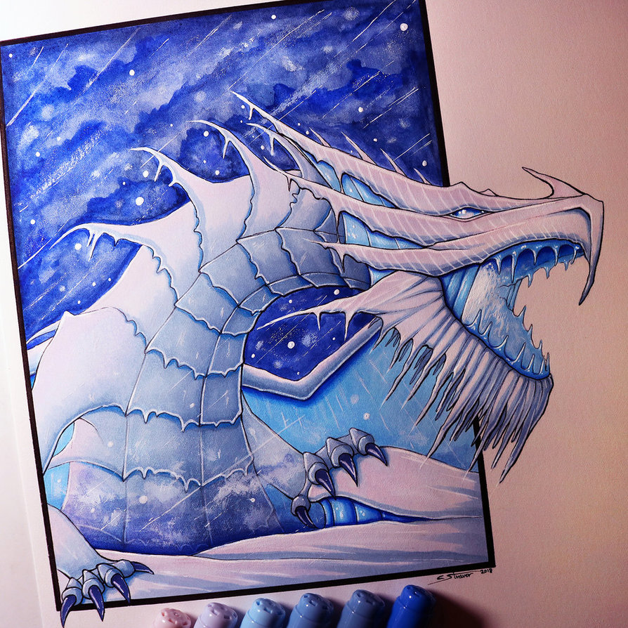 894x894 Snow Dragon Drawing By Lethalchris