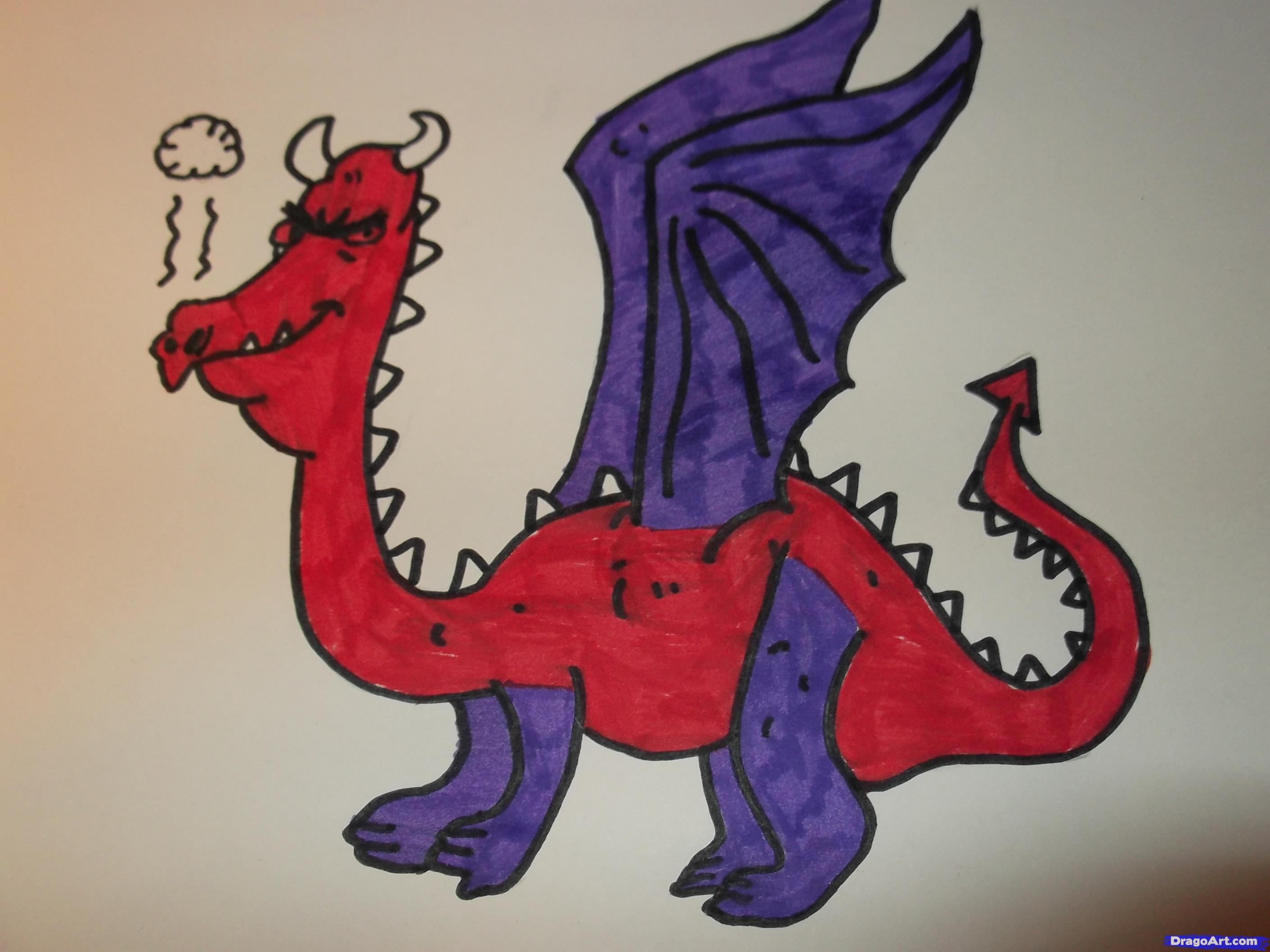 2816x2112 Dragon Drawing For Kids How To Draw A Cartoon Dragon, Stepstep