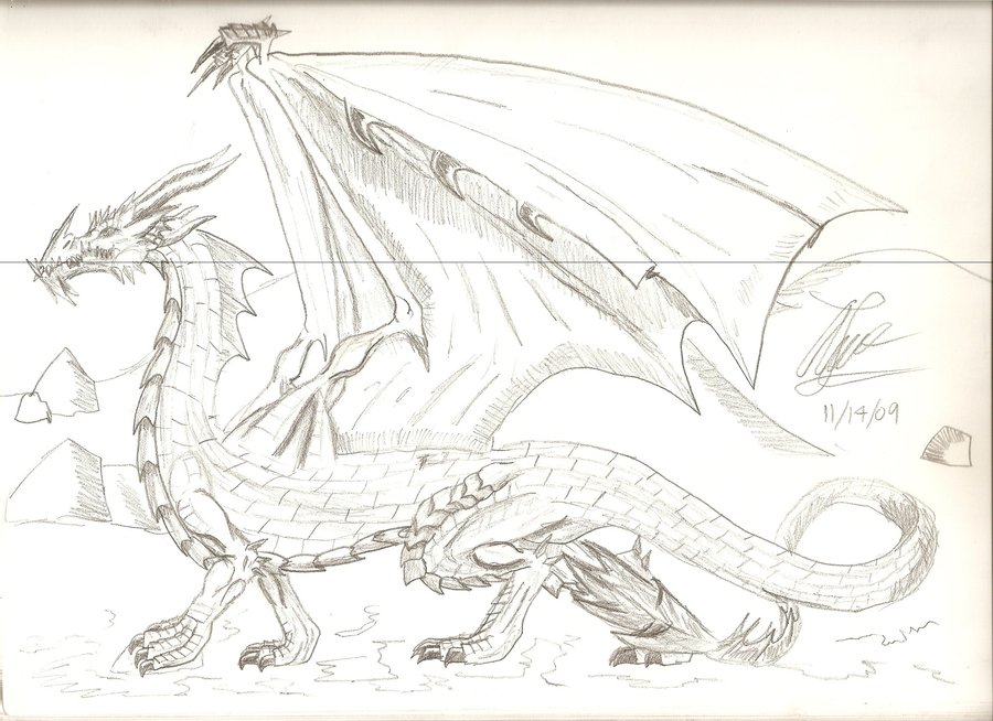 900x654 My first good dragon drawing by LeonopteryxDragon on DeviantArt