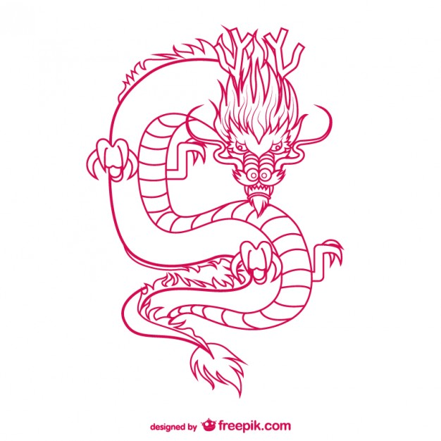 626x626 Oriental dragon drawing Vector Free Download